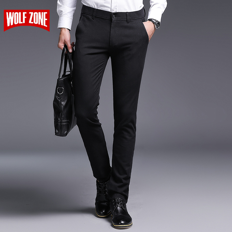2018 Fashion Cotton Men Pants Slim Fit Spring and Autumn High Quality Business Flat Classic Full Length Mid Casual Trousers