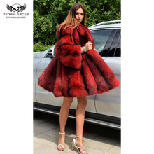 Tatyana furclub Real Fur Coat High Quality Luxury Natural Silver Fox With Hood Thick Warm Winter Jacket Whole Skin