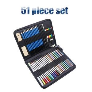 Image 2 - 33 40 51 piece set Sketch Pencil Professional Sketching Drawing Kit Set Wood Pencil Bags Painter School Students Art Supplies