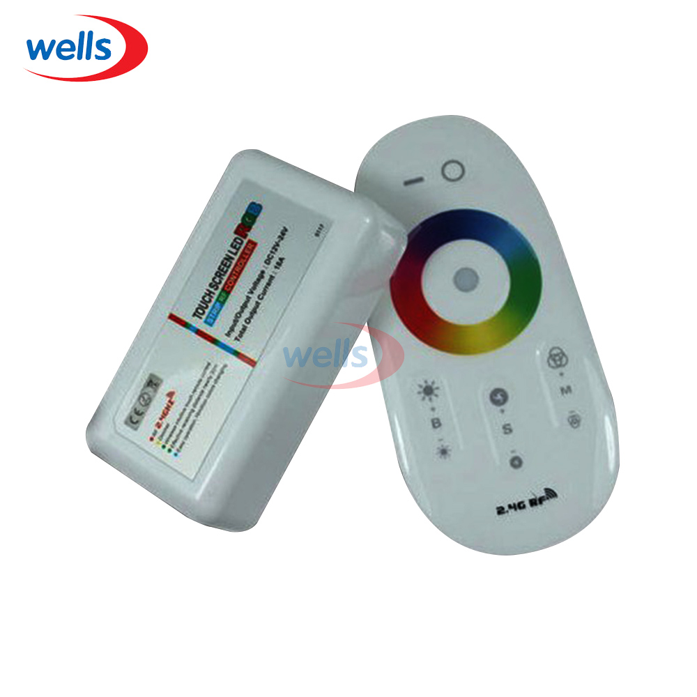 2.4G LED RGB White Wireless RF Controller Touch Screen Dimmable Remote 12 -24V led rgb controller 2 4ghz rf wireless