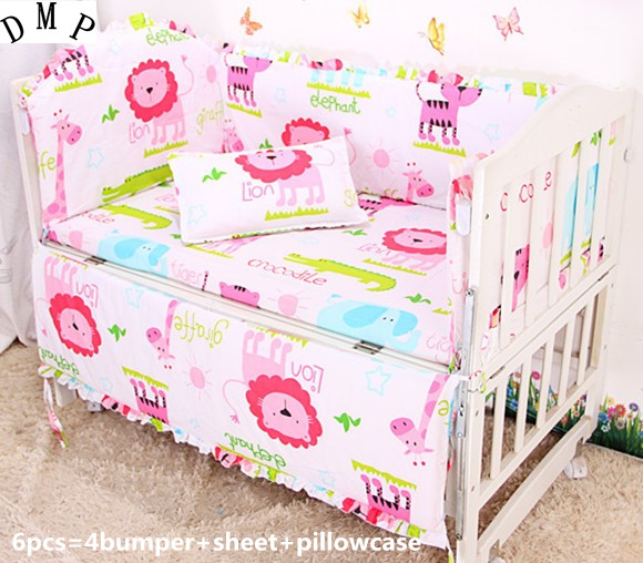 Promotion! 6PCS Baby crib bedding set 100% cotton crib bumper sheets baby bedding set ,include:(bumper+sheet+pillow cover)