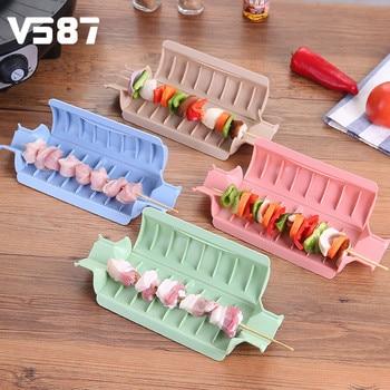 塑料手工烧烤串模具DIY羊肉牛肉串制作盒野营烧烤工具厨房配件4色床制作工具