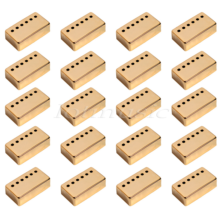 20Pcs Gold Metal Guitar Humbucker Pickup Cover For Electric Guitar Replacement 52mm Pole Space kmise chrome plated metal truss rod cover for electric guitar replacement pack of 50