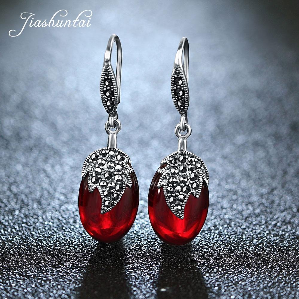 все цены на JIASHUNTAI Vintage Red Gemstone Garnet Earrings Retro 100% 925 Sterling Silver Earrings For Women Jewelry Female онлайн