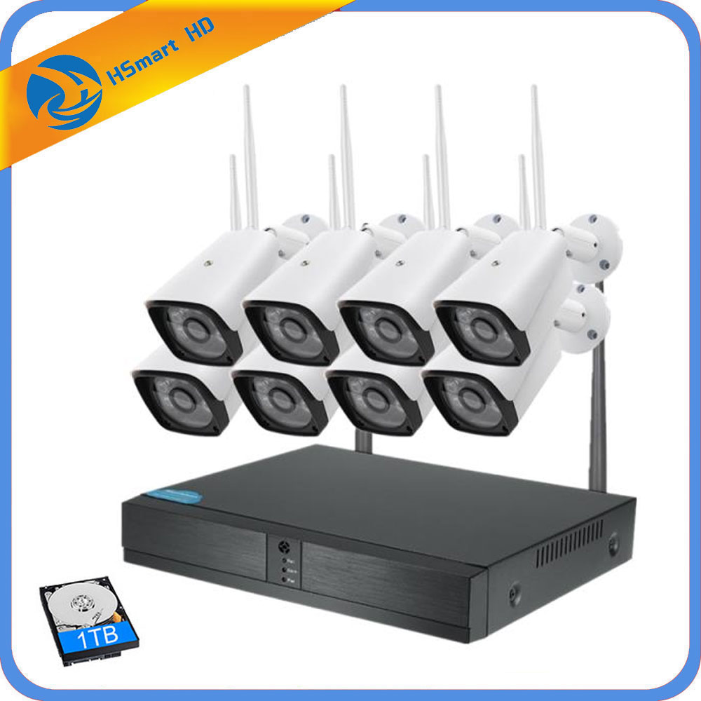 8CH 720P CCTV System Wireless NVR 8PCS 1.0MP IR Outdoor Waterproof P2P WiFi IP Security Camera Surveillance System Kit 1TB HDD стоимость