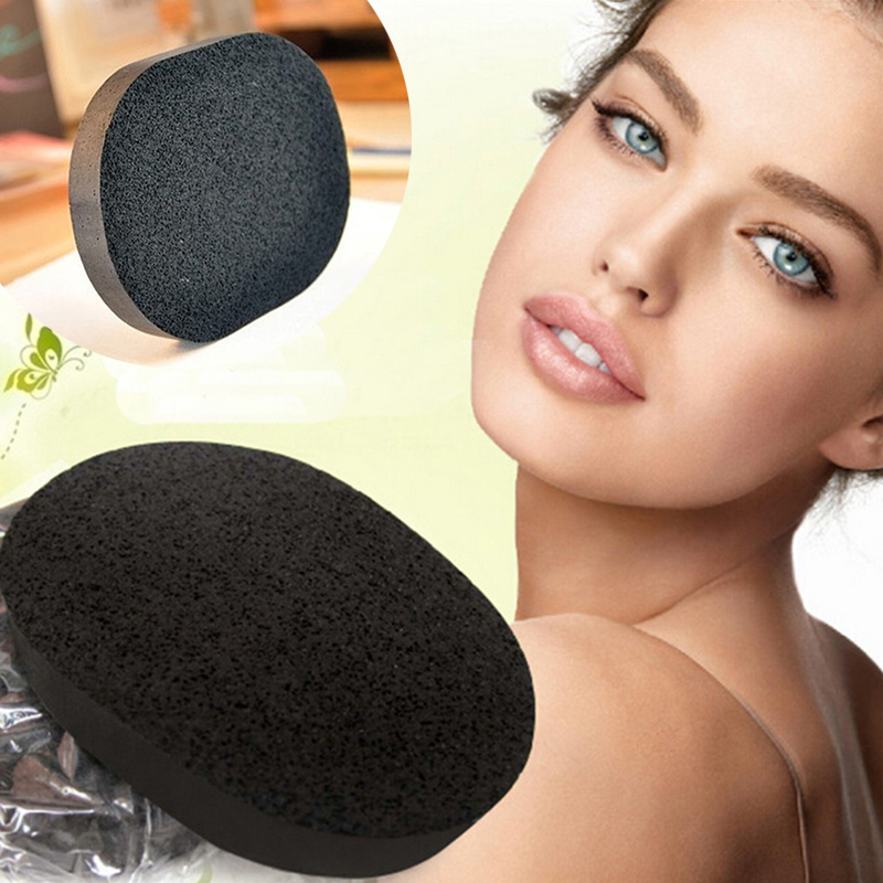1pcs Soft Cosmetic Puff Natural Black Bamboo Charcoal Sponge Face Washing Exfoli