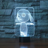3d Lovely Rabbit Touch Table Lamp 7 Colors Changing Desk Lamp Lamp Novelty Led Night Lights