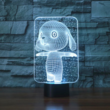 3d  Lovely Rabbit Touch Table Lamp 7 Colors Changing Desk Novelty Led Night Lights Death Star Light Drop Ship