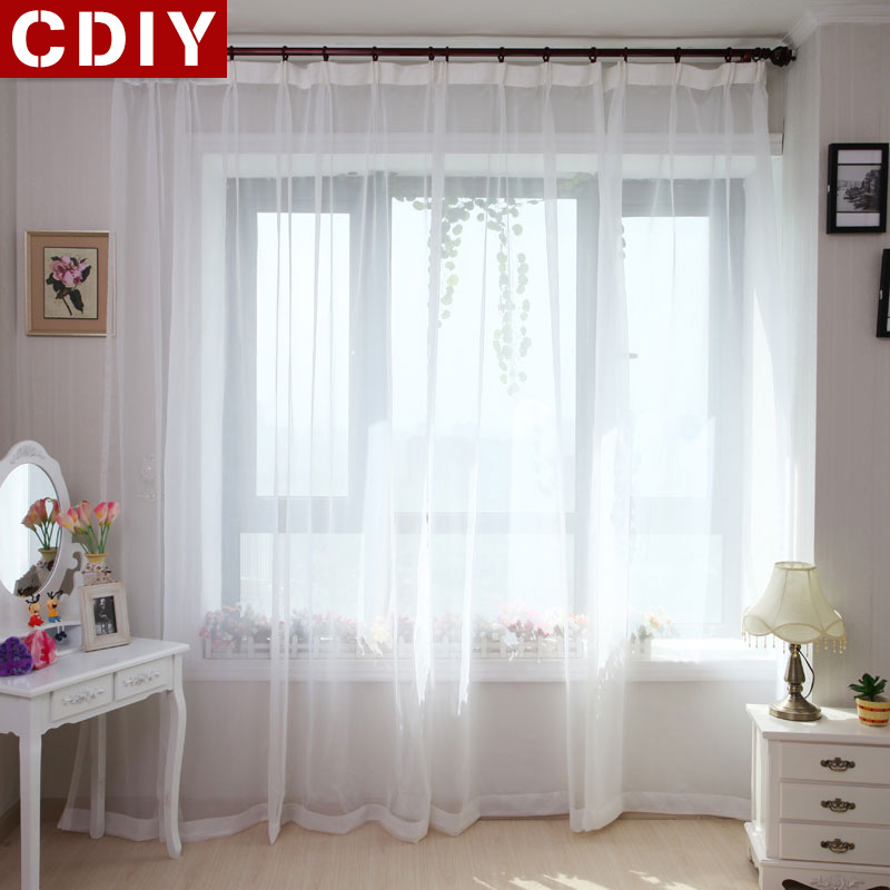 CDIY White Sheer Curtains Window Tulle Curtains For Bedroom Living Room Kitchen Modern Solid Voile Curtains For Window Drapes