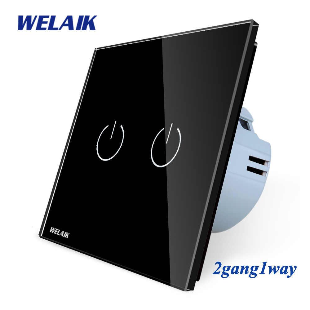 Welaik Кристалл Стекло Панель переключатель Белый настенный выключатель ЕС сенсорный выключатель Экран настенный выключатель света 2gang1way AC110 ~ 250 В a1921cw/b