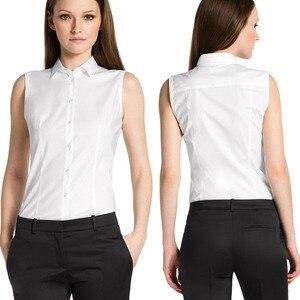 Модная Летняя женская рубашка большого размера, 100% Женская Повседневная тонкая хлопковая формальная рубашка без рукавов