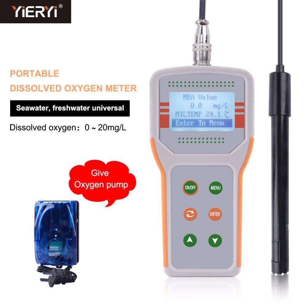 Yieryi JPB-607A Portatile Misuratore di Ossigeno Disciolto Per Gamberetti Pesce Agricoltura di Qualità Dell'acqua Il Monitor Meter ATC Gamma (0.0- 20.0) mg/L