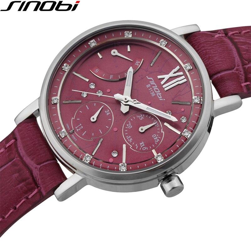 SINOBI Vintage Red Women Leather Watches Multifunction Quartz Clock Ladies Wrist Watch 50M Waterproof Relojes Mujer 2018 Gifts цена в Москве и Питере