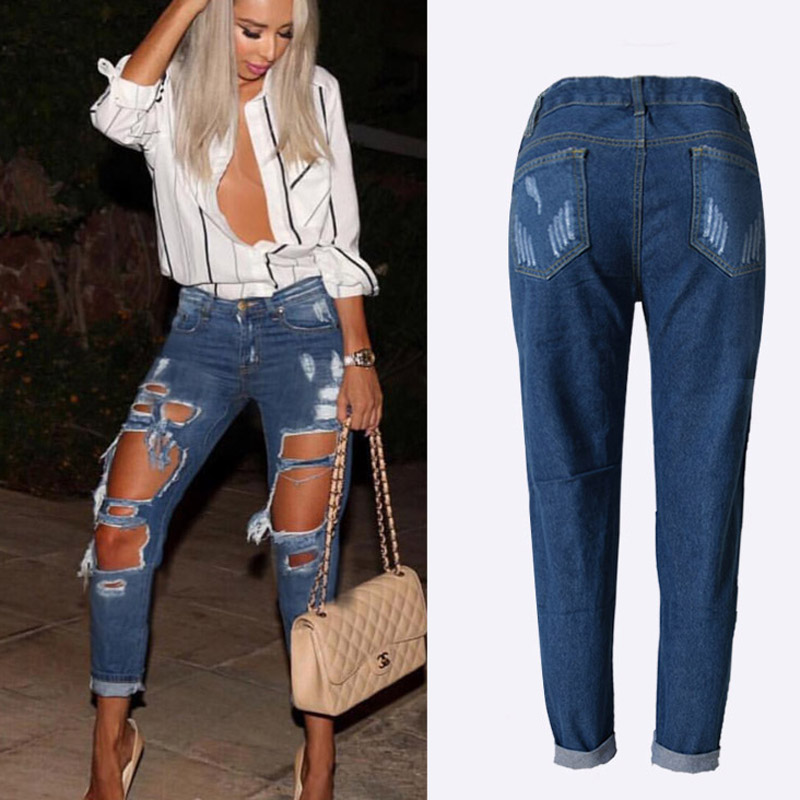 Casual High Waist Jeans Woman 2019 Summer Hole Ripped Jeans for Women Denim Ankle-Length Jeans Sexy Straight Plus Size Jeans