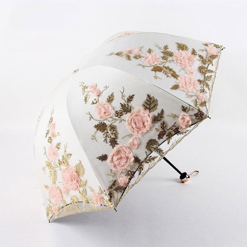 Dentelle fleur mariage parapluie Anti UV Parasol soleil parapluie pluie coupe-vent lumière pliante Portable parapluies pour les femmes mariée