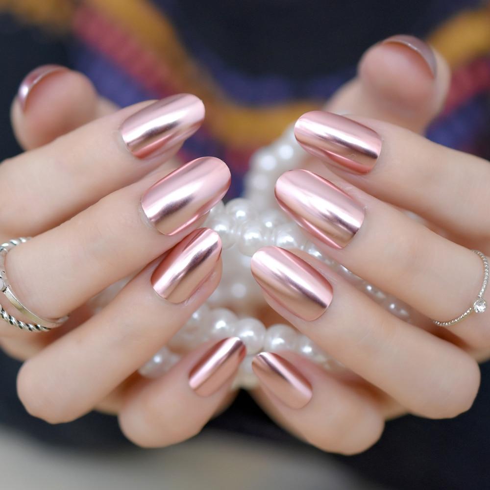 Metallic Mirror False Nails Fashion Pink Acrylic Nails Full Cover ...