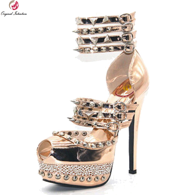 Original Intention Super Sexy Women Sandals Nice Rivets Platform Open Toe Thin Heel Sandals Gold Shoes Woman Plus US Size 4-12 original intention super sexy women sandals fashion open toe thin high heels sandals nice black shoes woman plus us size 4 20