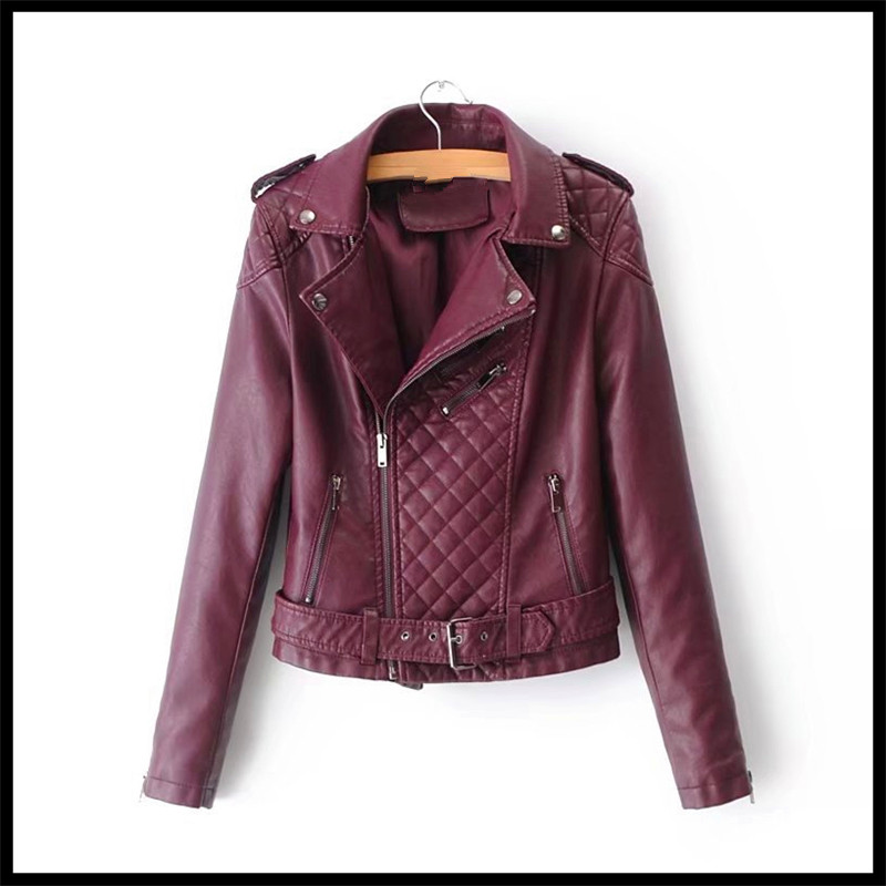 2018 New Lapel Women Pink Motorcycle Belt   Leather   Personality Turn-down Collar Tide Jacket Pu   Leather   Black Casual Women Jackets