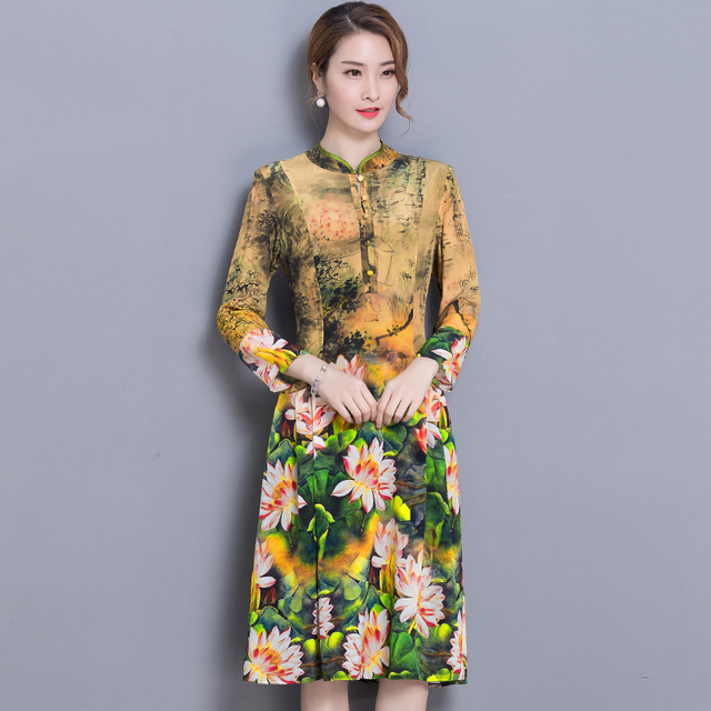 44828094d15 2018 fashion floral women dress Spring summer quality dress women clothing  yellow print design casual lady