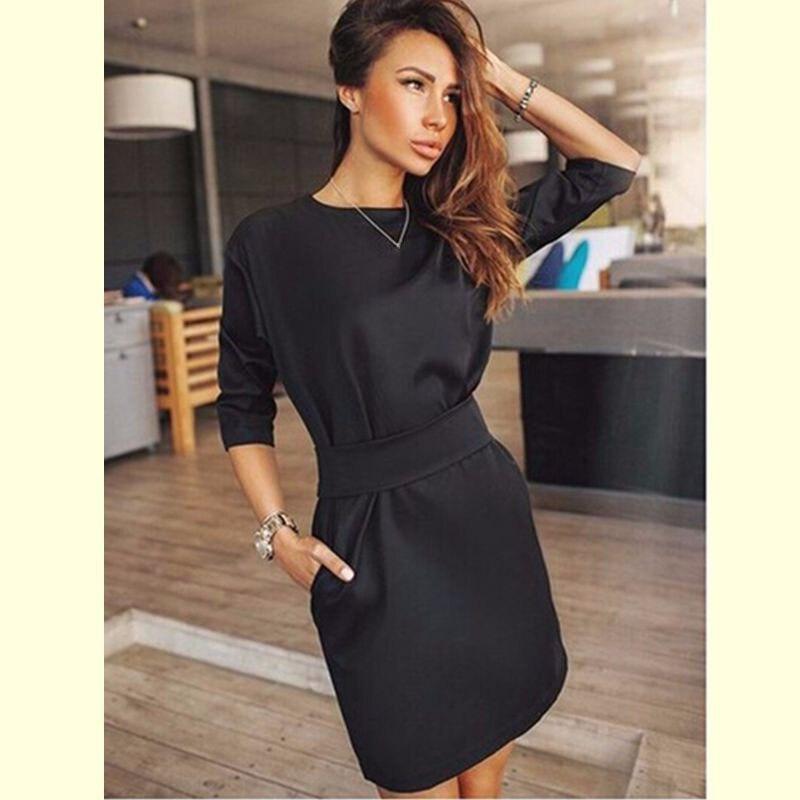 Summer Women Long Sleeve Tunic Dress Black Office Ol Elegant Work Dress