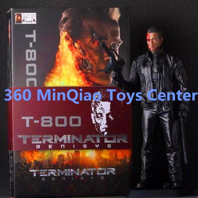 Classic Movie The Terminator T800 Schwarzenegger 12 Battle Damage Version Two Guns version Action Figure Collectible Model Toy