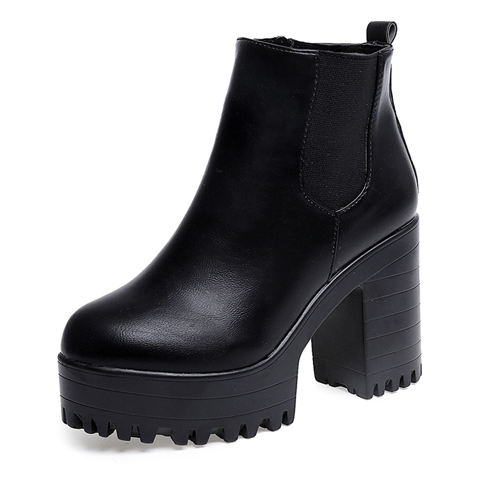 botas mujer Women Boots Square Heel Platforms Leather Thigh High Shoes ankle boot women's winter boots Girls Shoes A6 2017 fashion women boots botas mujer zapatos mujer ankle boots for women thigh high boots chaussure femme bottes femmes 2016