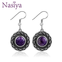 2019 Bohemia Natural Purple Charoite  Gemstone Womens Earrings Fine Sterling Silver Jewelry Wedding Party Engagement Gift
