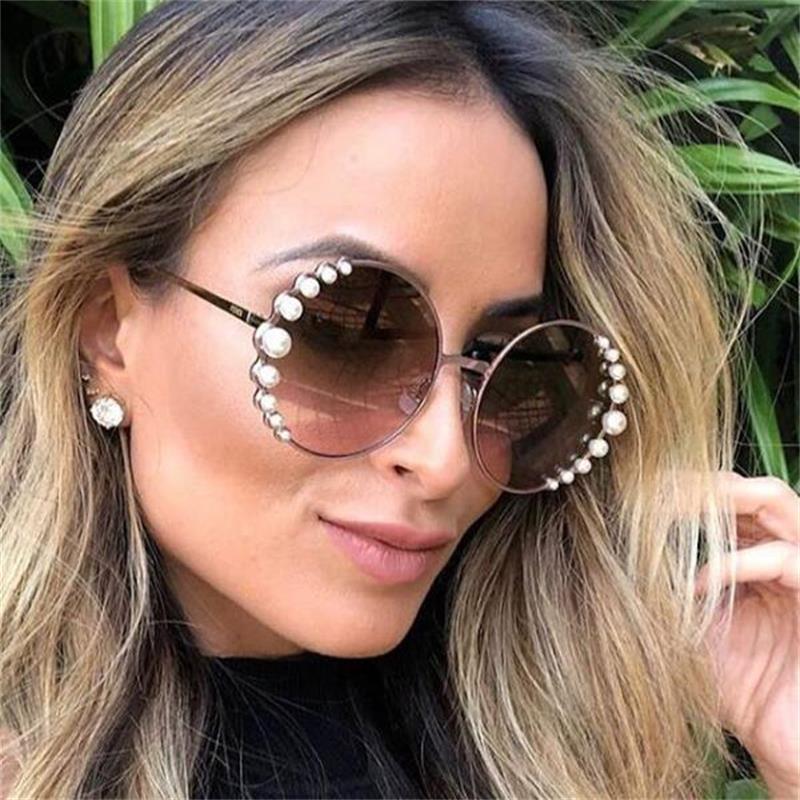 Жемчужные круглые солнцезащитные очки 2020 дизайнерские брендовые роскошные женские винтажные очки градиентные линзы Ретро Солнцезащитные ...