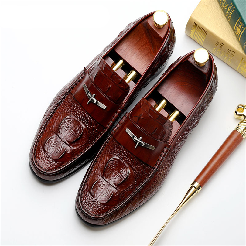 Mens Casual genuine leather flats loafers for men comfortable business casual brown black pea boat man leather shoes CY335 2