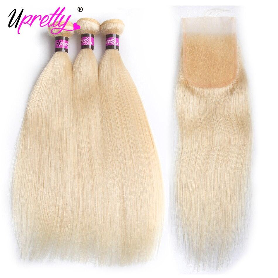 Upretty волос бразильский Прямо 613 Связки с закрытием 3 Связки с закрытием человеческих волос блондинка Связки с закрытием