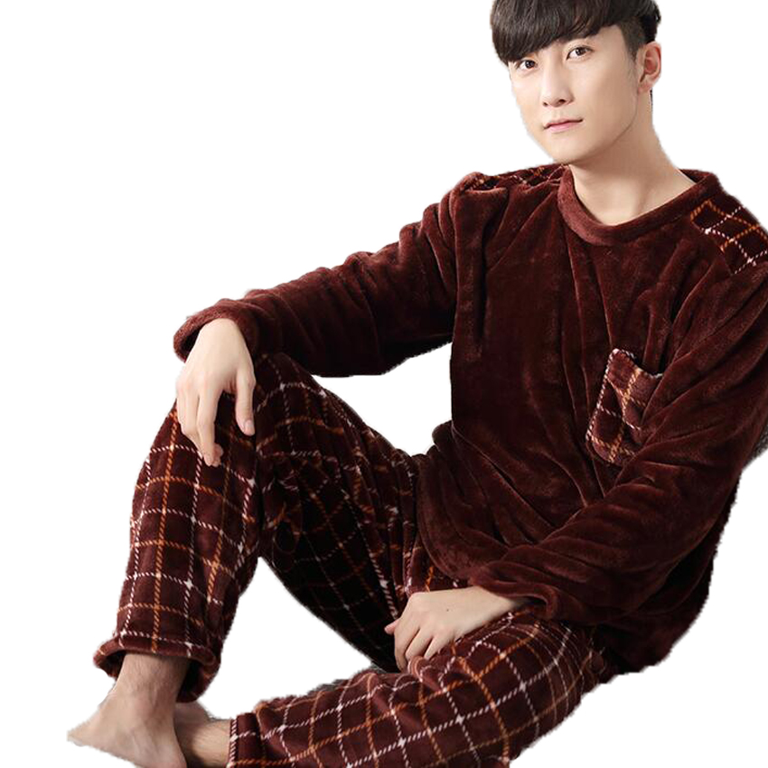 2017 Winter Mens Flannel Pajama Sets O Neck Long Sleeve Warm Coral Fleece Sleepwear Two Piece