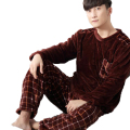 2017 Winter Mens Flannel Pajama Sets O-Neck Long Sleeve Warm Coral Fleece Sleepwear Two Piece Set Male Pyjamas Pijama Hombre