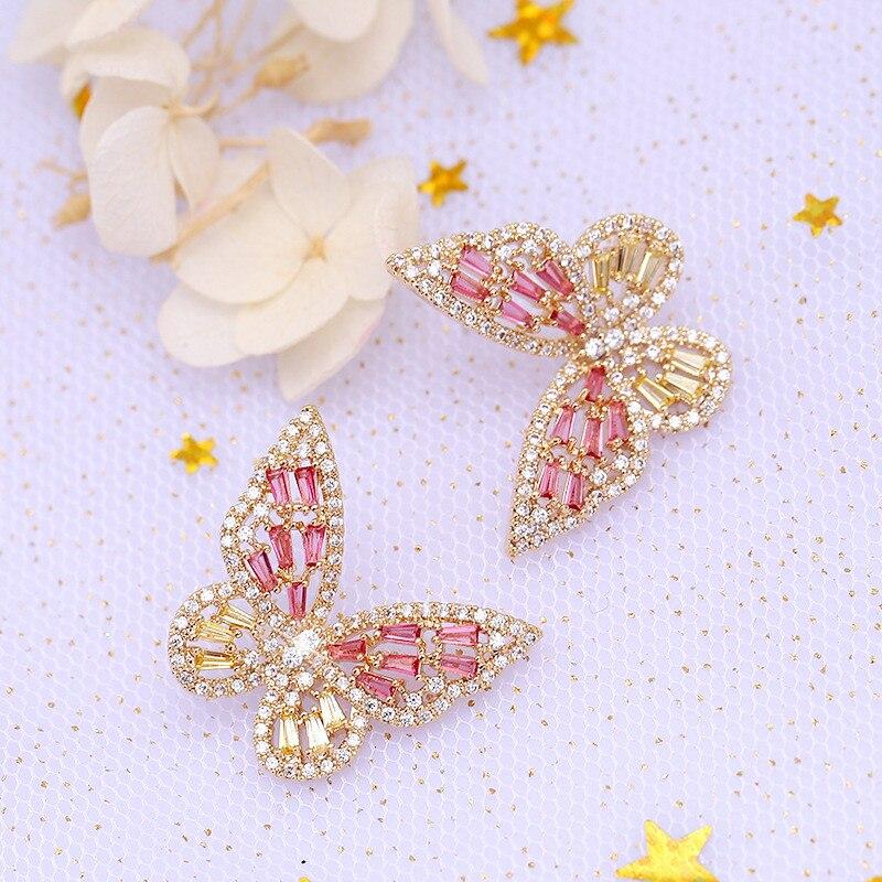 Zircon borboleta brincos para mulheres meninas prata ouro rosa cor azul moda casamento brinco pendientes mujer moda 2019