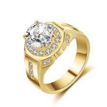 Deluxe bold 10mm big round Cubic Zircon wedding rings for male fashion jewelry gold color silver ring men bague homme