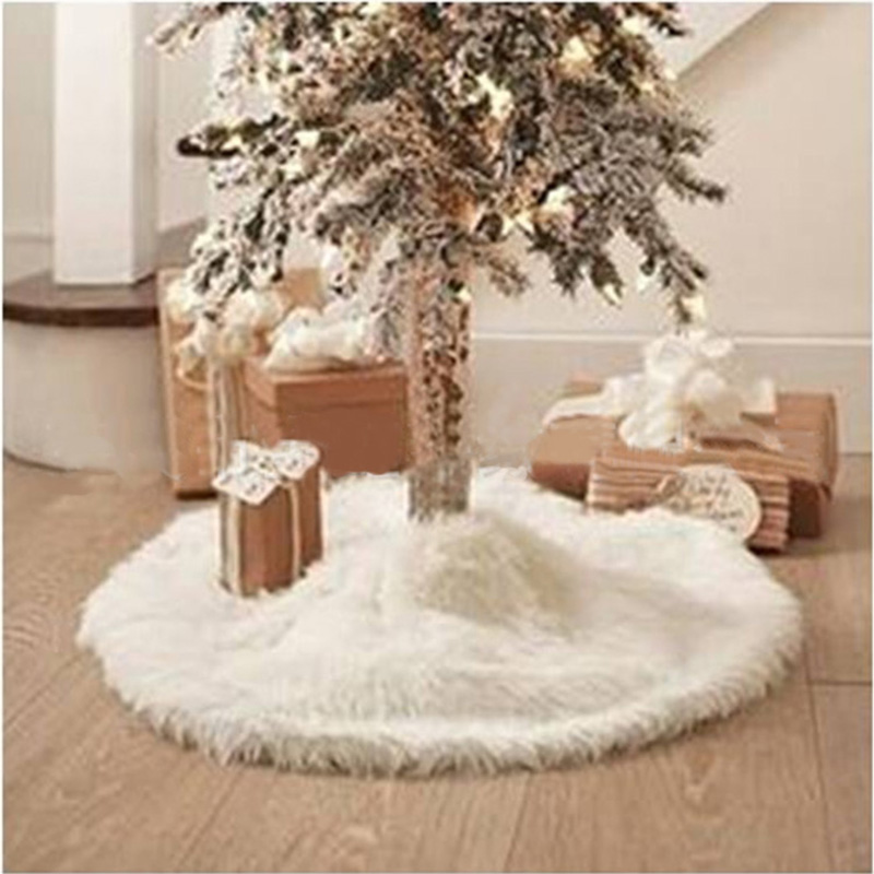 Plush Christmas Tree Skirt White Fur Carpet Decoration Navidad Supplies Ornament Outdoor Skirts Natale Natal In From Home