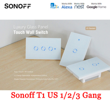 ФОТО sonoff t1 us 1/2/3 gang smart touch light switch ac 90v-250v smart switch wifi rf remote control timing countdown wall switch