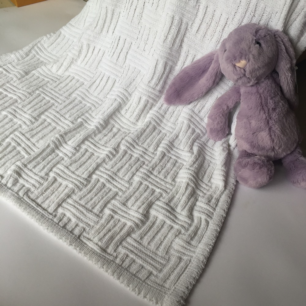 10076cm solid white knitted blanket soft small baby blanket kids throw blanket chenille knit - Chenille Blanket