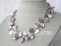 Jewelry 00497 stunning big baroque lavender keshi reborn freshwater pearl necklace