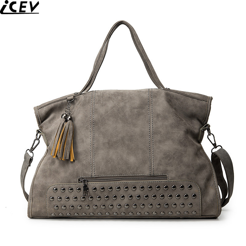 ICEV New 2017 Fashion Rivet Women handbags Frosted Female Messenger Bags Large Capacity Tote Shoulder bags