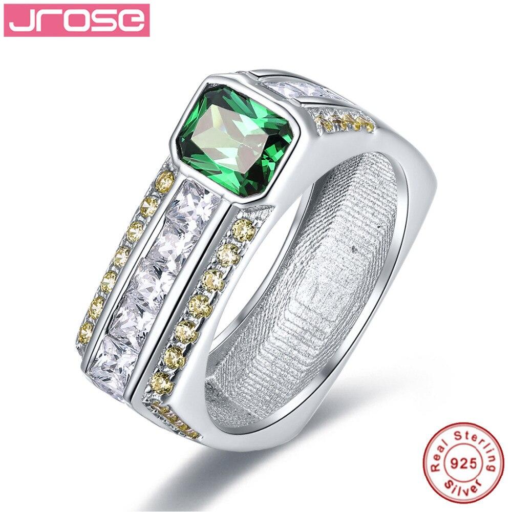 Jrose Vintage Jewelry 925 Sterling Silver Ring Women Wedding Engagement  Rings Amazing Laboratory Created Emerald Free