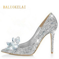 Brand Shoes Woman High Heels Wedding Shoes Crystal Cinderella Shoes Fashion High Heels Women Shoes Rhinestone