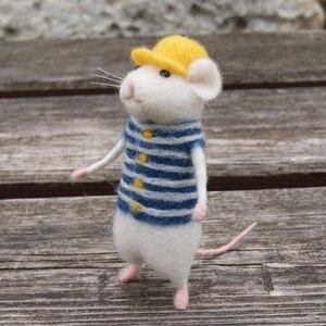 Image 4 - 2019 여성 러블리 마우스 마우스 수제 동물 장난감 인형 양모 바늘 펠트 kitting diy 양모 키트 패키지 비 완성
