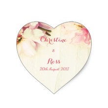 3.8cm Personalised Floral Heart Wedding Sticker