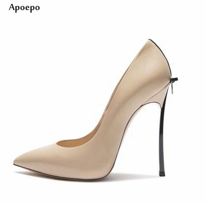 Apoepo Hot Selling Butterfly-knot High Heel Shoes 2018 Spring pointed toe woman pumps High Quality Office Lady Leather Shoes
