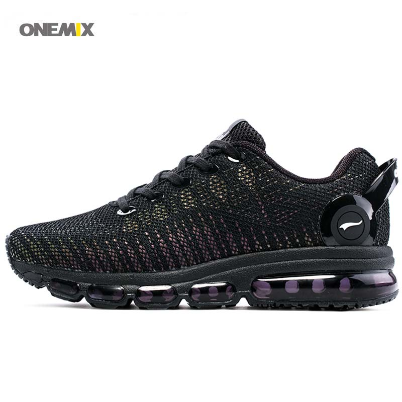 ONEMIX New Arrival Running Shoes 2017 Tongue Design Breathable Sport Air Sneakers For Outdoor Athletic black Men's Women's 1216A peak sport men outdoor bas basketball shoes medium cut breathable comfortable revolve tech sneakers athletic training boots
