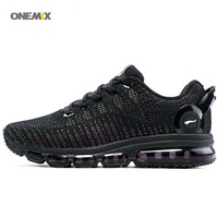 ONEMIX New Arrival Running Shoes 2017 Tongue Design Breathable Sport Air Sneakers For Outdoor Athletic black Men's Women's 1216A