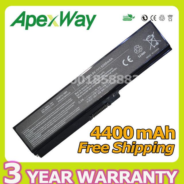 Apexway 6 celdas de batería portátil para toshiba pa3819u pa3816u-1brs pa3817u-1brs pa3818u-1brs pabas227 pabas228 pabas229 pabas230