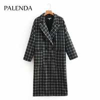 2018 new women winter plaid wool cotton material long coat blend