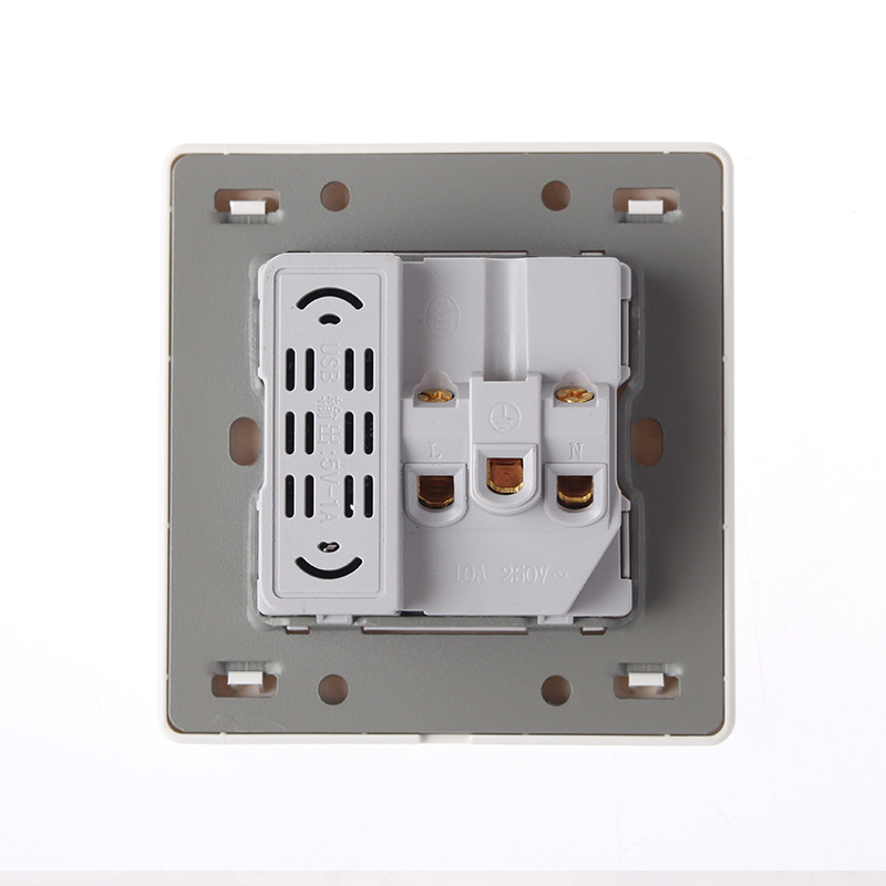 Wall Mounted Switchgear 86 Type Concealed Large Board Jade Induced White Five Hole With USB Socket 10A PC 220V in Electrical Sockets from Home Improvement