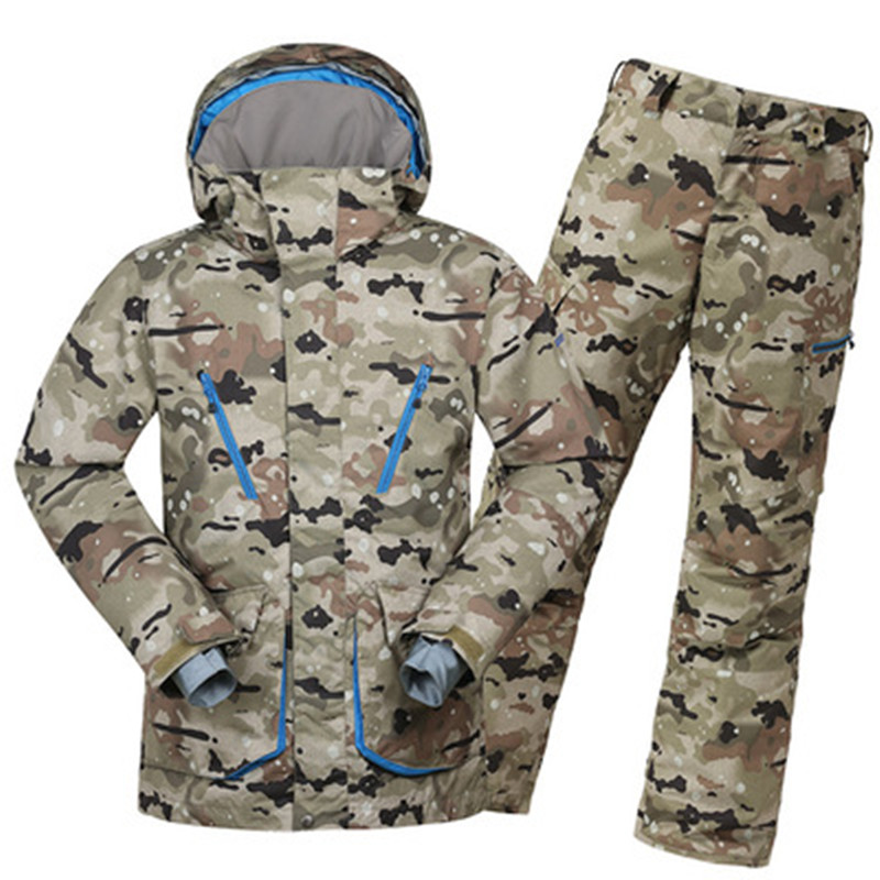 GSOU SNOW Men Ski Suit Skiing Snowboard Jacket Pant Camouflage Windproof Waterproof Outdoor Sport Wear Super Warm Suit Set Coat купить
